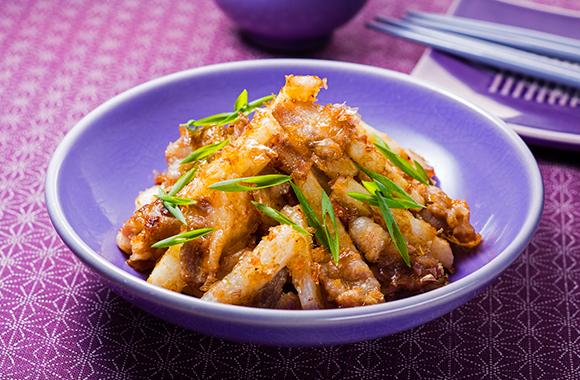 豚バラ肉と長芋のおかか炒め