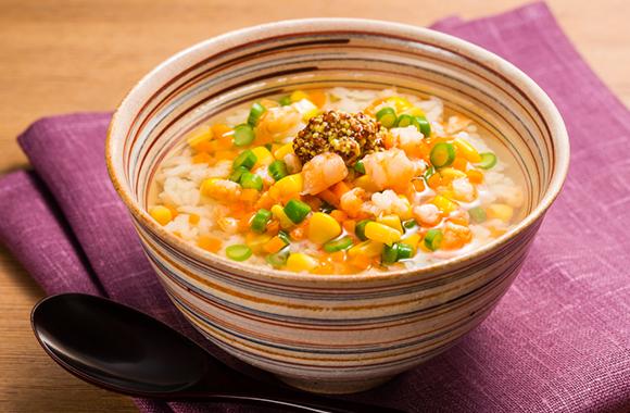 えびと彩り野菜の白だしスープごはん