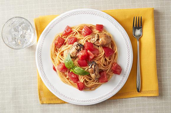 かきとトマトのパスタ