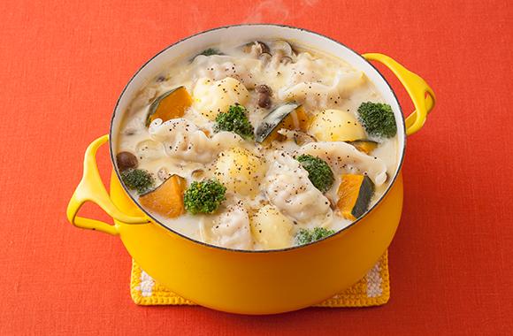 かぼちゃチーズ餃子鍋