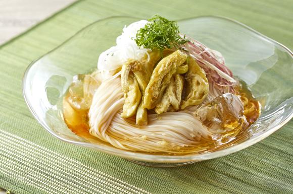 焼き茄子風ぶっかけ素麺