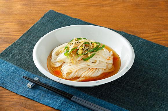 ピーマンと大豆もやしの中華風ぶっかけ麺