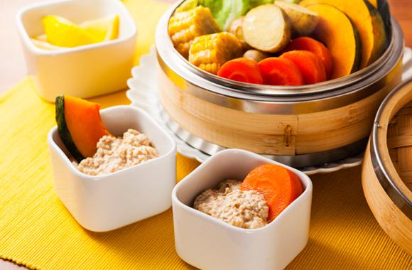 蒸し野菜 豆腐ディップ