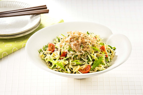 切り干し大根とひじき、水菜の白だしサラダ