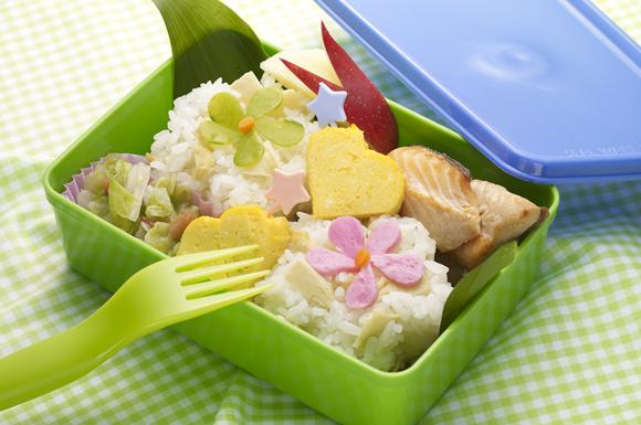 筍ご飯とハートの卵焼き弁当
