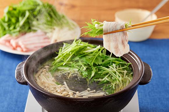 山盛り水菜の豚しゃぶ野菜鍋