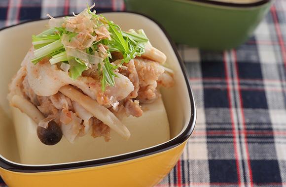 豚しゃぶときのこの梅かつお豆腐