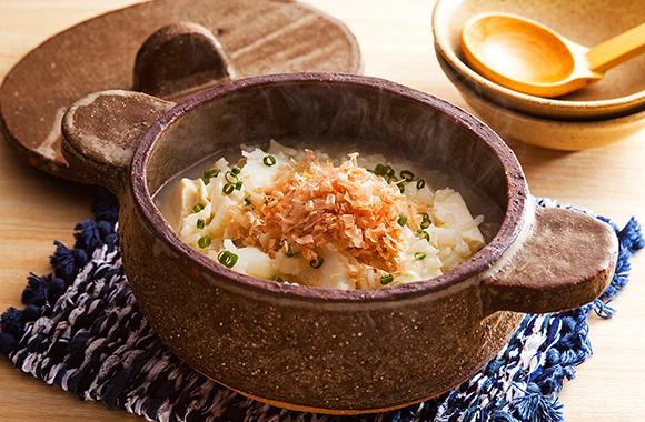 タラと豆腐のしょうが雑炊