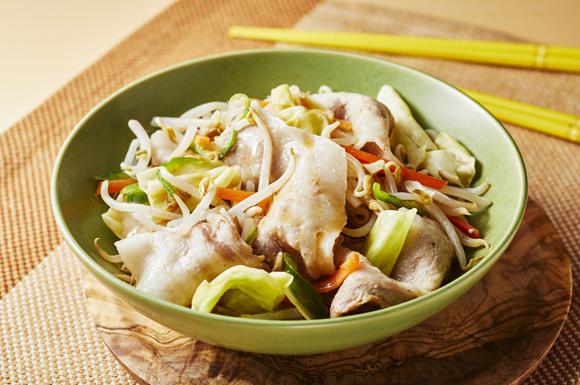カット野菜と豚肉のレンジ蒸し