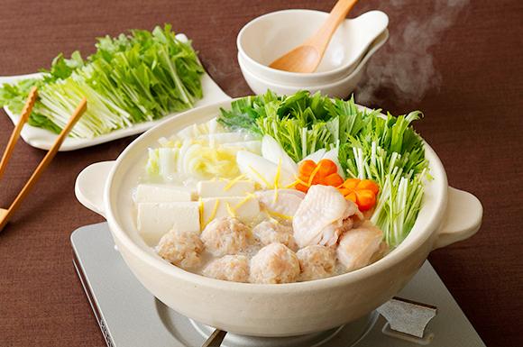 シャキシャキ水菜の地鶏だし塩鍋