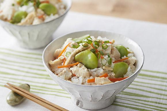 そら豆と豆腐の混ぜご飯