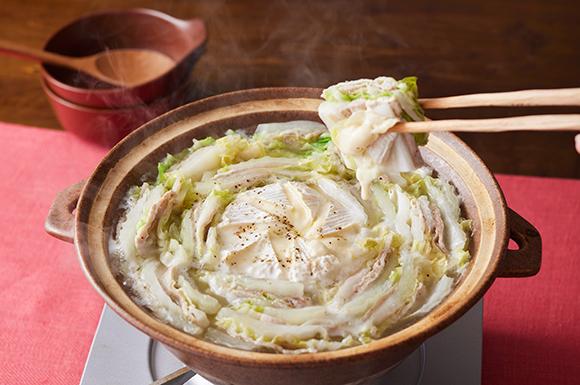白だしで出来る!まるごとカマンベールチーズのミルフィーユ鍋