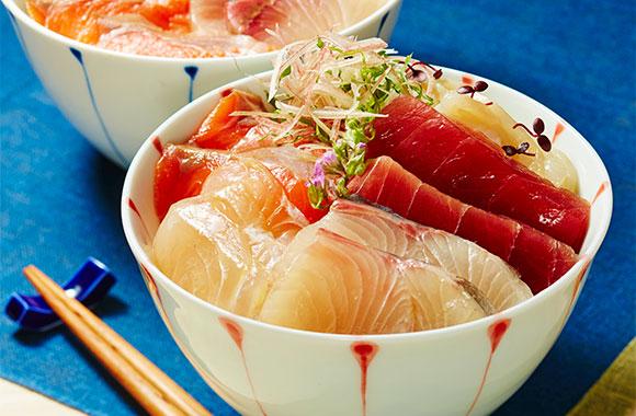 めんつゆ漬け海鮮丼