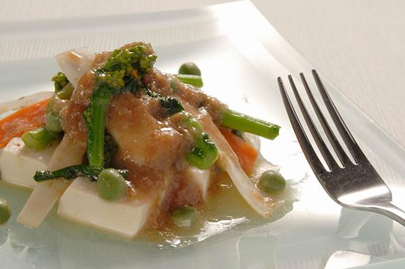 春野菜と豆腐のかつお節味噌和え