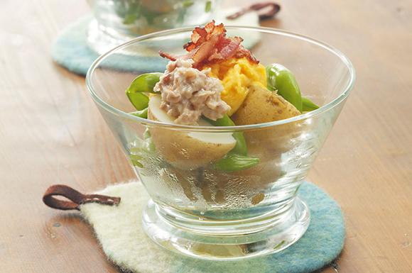 スナップエンドウと新じゃがの菜の花サラダ
