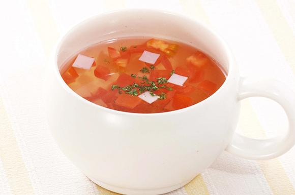 トマトとハムの温スープ