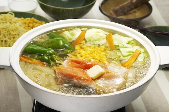 鮭とコーンの塩バターちゃんこ鍋